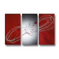 3 Canvas Abstract Painting #56 Red Silver