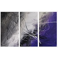 3 Canvas Abstract Painting #58 Grey And Purple