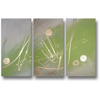 3 Canvas Abstract Painting #59 lime Green Gold