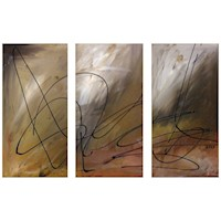 3 Canvas Abstract Painting #61 Brown Black