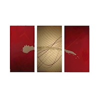 3 Canvas Abstract Painting #62 Red And Gold