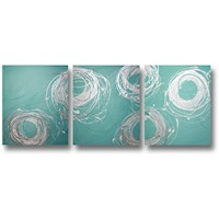 Abstract Painting Set #68 Silver White Turquoise