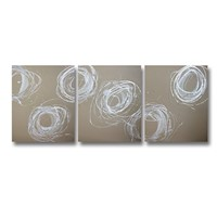 3 Canvas Abstract Painting #74 Brown Silver White