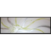 Abstract Canvas Painting #167 White Silver Green