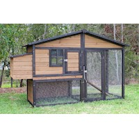 Large Backyard Chicken Run Coop w/ 2 Nesting Boxes