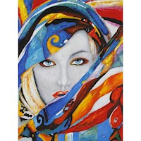 Girl in a Scarf Oil Painting Artwork 90x120cm