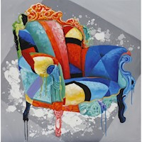 Designer Chair Oil Painting Artwork 100x100cm