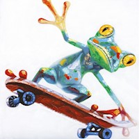 Frog On A Skateboard Oil Painting Art 100x100cm