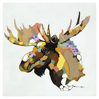 Moose Moose Oil Painting Artwork 110x110cm