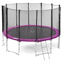 Outdoor Round Trampoline w/ Safety Net in Pink 16ft