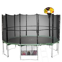 14ft Springless Trampoline w/ Basketball Set Green