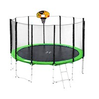8ft Springless Trampoline w/ Basketball Set - Green