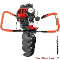 Yukon Petrol Post Hole Digger w/ 100mm Auger 52cc