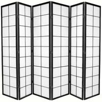 Wooden Black Zen Room Divider 6 Fold Screen 264cm