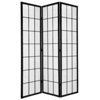 Wooden Black Japanese Room Divider 3 Fold Screen