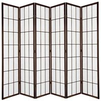 Wooden Brown Japanese Room Divider 6 Fold Screen