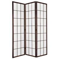 Wooden Brown Japanese Room Divider 3 Fold Screen