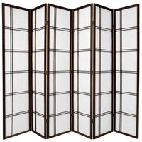 Wooden Brown Cross Room Divider 6 Fold Screen 264cm