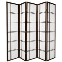 Wooden Brown Cross Room Divider 5 Fold Screen 220cm
