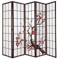 Brown Cherry Blossom Room Divider 5 Fold Screen
