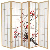 Natural Cherry Blossom Room Divider 5 Fold Screen