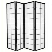 4 Panel Room Divider Privacy Screen Black Zen 176cm