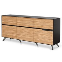 Excel Walnut Zebra Oak Sideboard Buffet 6 Drawers