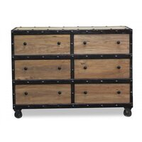 Phoenix Natural Elm Wood 6 Drawers Chest Reclaimed