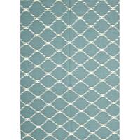 Rover Flat Weave Blue Wool Rug - 280 x 190cm