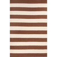 Flat Weave Taupe Stripes Wool Rug - 280 x 190cm