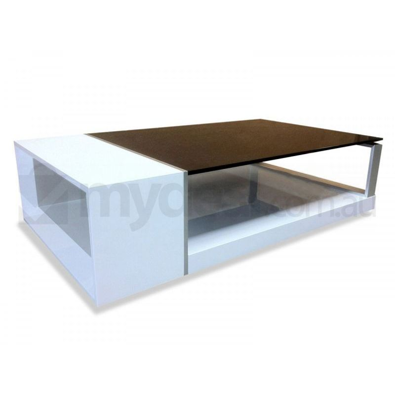 Eden high gloss white coffee table black glass top buy for Black and white glass coffee table
