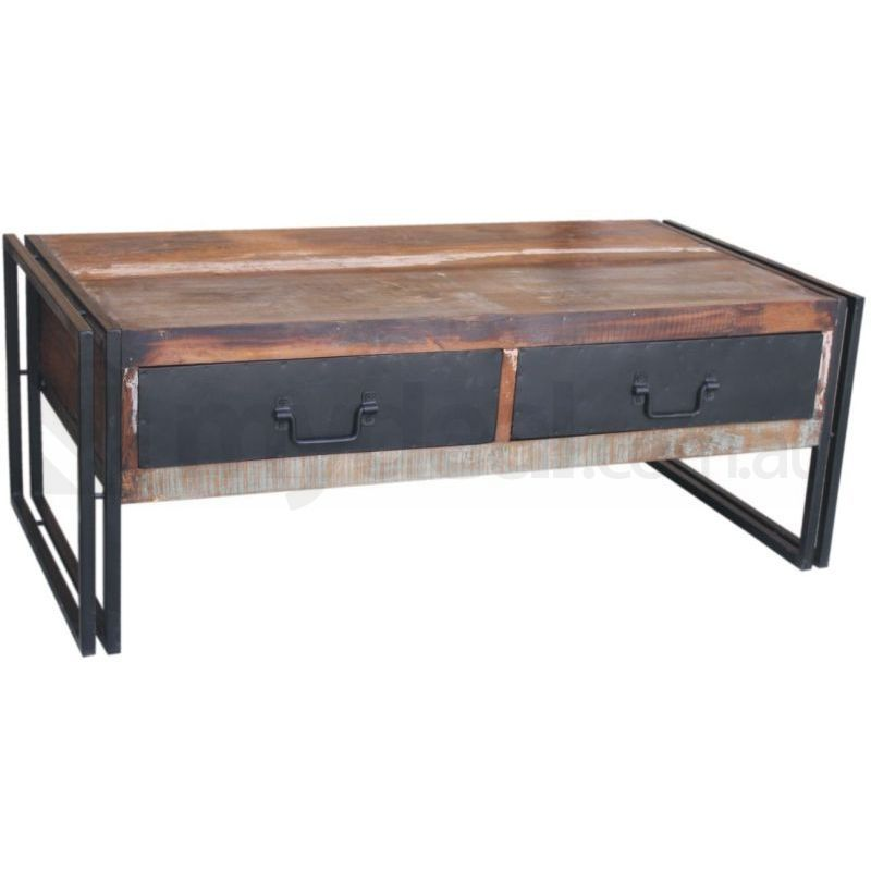 ludlow reclaimed rustic coffee table with 2 drawers buy