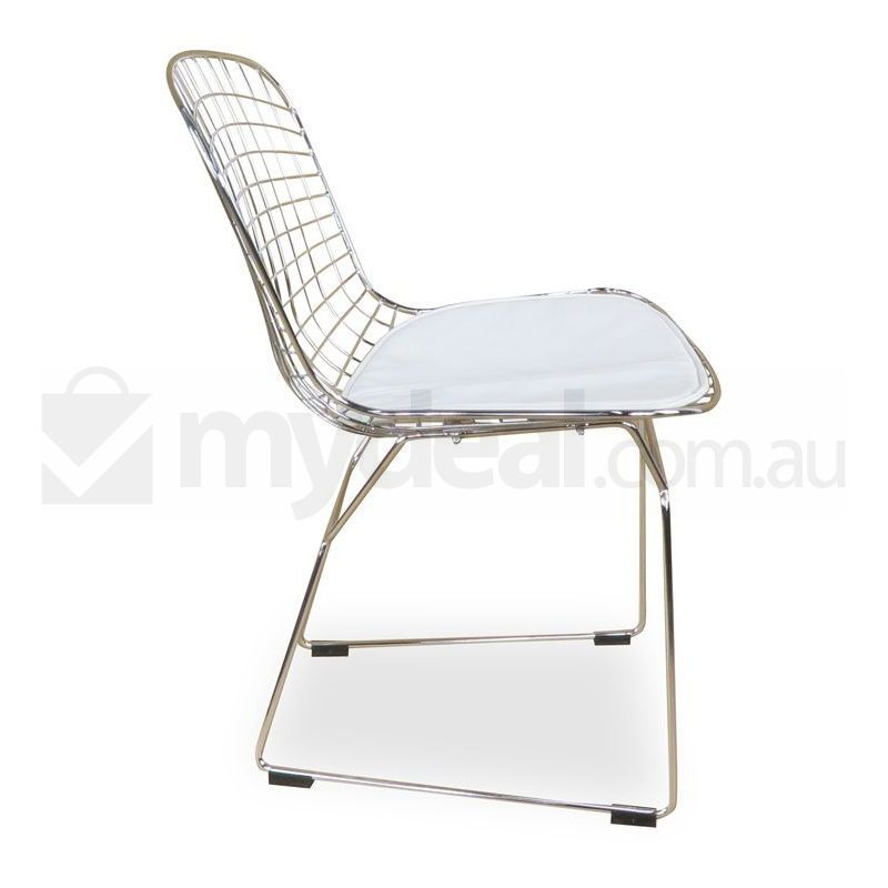 Harry bertoia replica wire side chair in white buy for Side chair replica