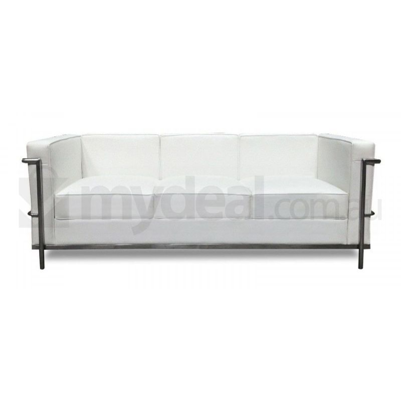 White 3 seater sofa le corbusier lc2 replica buy leather sofas Le corbusier lc2 sofa