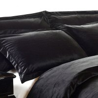 Luxury Polyester Micro Fur Black Pillowcase x2