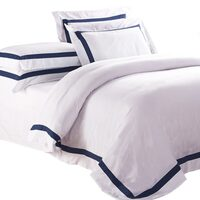 Ava White Queen Quilt Cover Set with Navy Trim