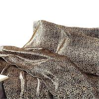 Leopard Print Polyester Satin Queen Bed Sheet Set
