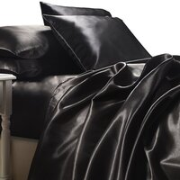 Luxury Black Polyester Satin Queen Bed Sheet Set