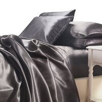 Luxury Grey Polyester Satin King Bed Sheet Set