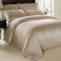 Luxury Latte Micro Fur Queen Size Quilt Cover Set