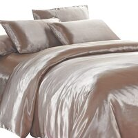 Luxury Latte Polyester Satin Queen Quilt Cover Set