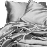 Luxury Silver Polyester Satin Queen Bed Sheet Set
