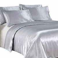Luxury Silver Polyester Satin Queen Quilt Cover Set