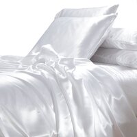 Luxury White Polyester Satin Queen Bed Sheet Set