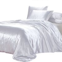 Luxury White Polyester Satin Queen Quilt Cover Set