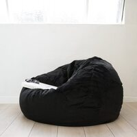Large Round Black Velvet Micro Fur Bean Bag Cover