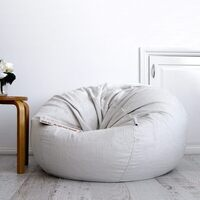 Large Round Silver Velvet Micro Fur Bean Bag Cover
