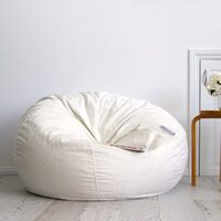 Large Round Ivory Velvet Micro Fur Bean Bag Cover