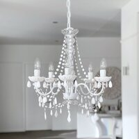 Devotion 5 Light White Acrylic Crystal Chandelier