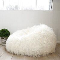 Large Beanbag Cover in Shaggy Cream Soft Faux Fur